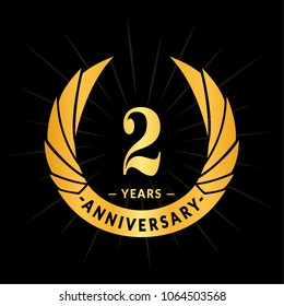 2 years anniversary. Elegant anniversary design. 2 years logo.