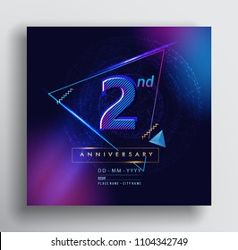 2 Years Anniversary Logo with Colorful Galactic background, Vector Design Template Elements for Invitation Card and Poster Your Birthday Celebration.
