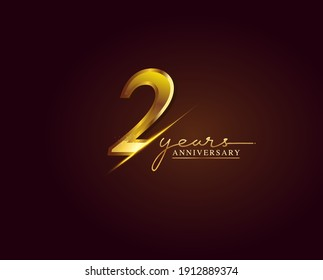 2 Years Anniversary Logo Golden Colored isolated on elegant background, vector design for greeting card and invitation card