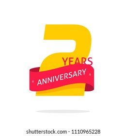2 years anniversary logo template isolated on white, number 2 anniversary icon label with red ribbon, two year birthday seal vector symbol clipart