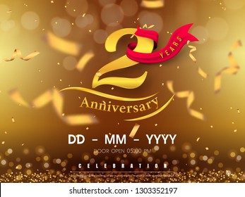 2 years anniversary logo template on gold background. 2nd celebrating golden numbers with red ribbon vector and confetti isolated design elements