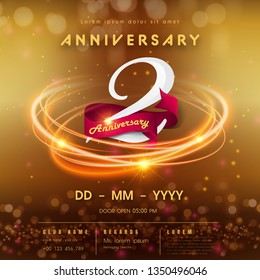2 years anniversary logo template on golden Abstract futuristic space background. 2nd modern technology design celebrating numbers with Hi-tech network digital technology concept design elements.