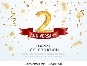 2 years anniversary vector banner template. Two year jubilee with red ribbon and confetti on white background