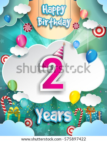 2 Years Birthday Celebration Design For Greeting Cards And Poster With Clouds Gift Box