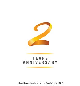 2 years golden anniversary celebration logo , isolated on white background