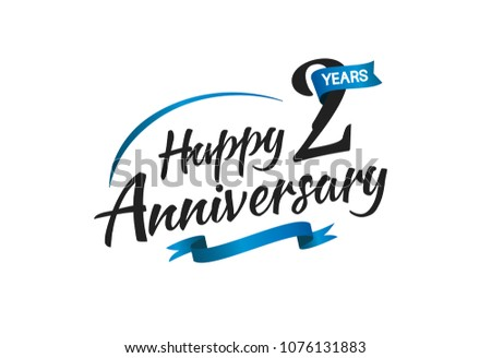 2 Years Happy Anniversary Celebration Blue Stock Vector Royalty