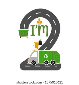 I'm 2 Years Old Birthday Boy Garbage Truck T-shirt. Cute Garbage truck doodle. Hand drawn vector doodle set for kids. Good for textiles, clothes, bday gifts.