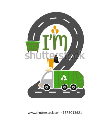 Im 2 Years Old Birthday Boy Garbage Truck T Shirt Cute