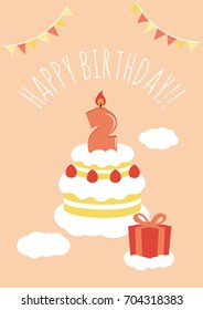 2 Years Old Birthday Card Vector