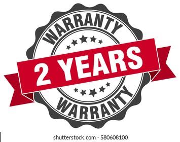 2 years warranty. stamp. sticker. seal. round grunge vintage ribbon 2 years warranty sign
