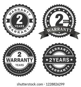 2 Years warranty vector badge labels