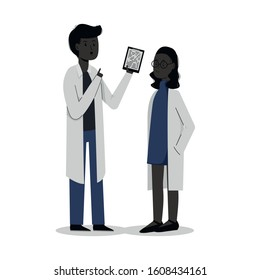 2 young black doctors or scientists. Achievements of blacks. A man and a woman in blown robes. Vector flat illustration. Isolated. White background