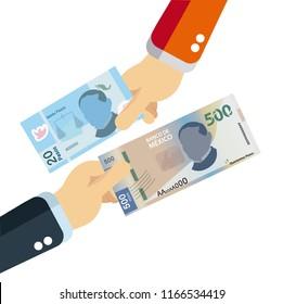 20 and 500 Mexican pesos bills