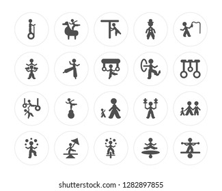 20 Acrobat man, Circus stunt Juggler Tightrope walker Tamer Giant man modern icons on round shapes, vector illustration, eps10, trendy icon set.