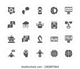 20 Algorithm, Thought, Robot, Artificial intelligence, Piction, Binary code, Book, Mechanical arm, Cloud computing modern icons on round shapes, vector illustration, eps10, trendy icon set.