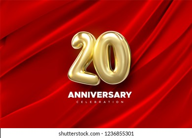 20 Anniversary celebration. Golden number 20 on red draped textile background. Vector festive illustration. Realistic 3d sign. Birthday or wedding party event decoration