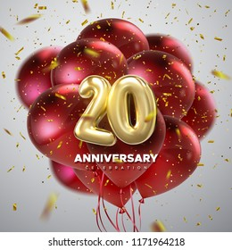 20 Anniversary celebration. Golden numbers with sparkling confetti and red balloon bunch. Vector festive illustration. Realistic 3d sign. Party event decoration