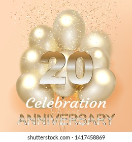 20 Anniversary Logo Celebration with balloon and confetti, Isolated on light Background