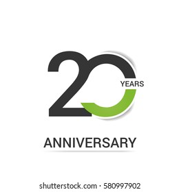 20 Anniversary  Logo Celebration, Black and Green Flat Design Isolated on White Background