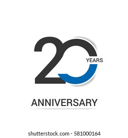 20 Anniversary  Logo Celebration, Black and Blue Flat Design Isolated on White Background