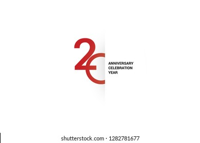 20 anniversary, minimalist logo. 20th jubilee, greeting card. Birthday invitation. 20 year sign. Red space vector illustration on white background - Vector