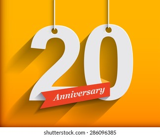 20 Anniversary numbers with ribbon. Flat origami style with long shadow. Vector illustration