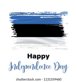 20 August, Estonia Independence Day background in national flag color theme. Estonia National Day. Celebration banner with waving flag. Vector illustration