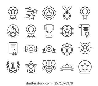 20 iconos de los premios. Juego de iconos de la línea de premios y logros. Ilustración vectorial.