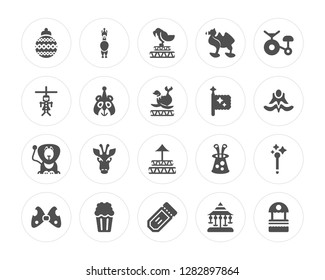 20 Ball, Circus Llama, Tickets, Popcorn, Big Bow, Bycicle, Flag, Ring, Lion, Bear modern icons on round shapes, vector illustration, eps10, trendy icon set.