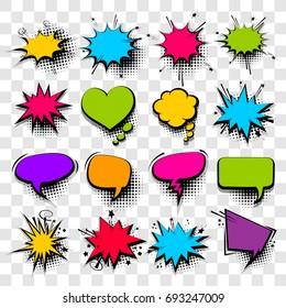 20 Big set picture blank template pop art style comic text speech bubble halftone dot background. Comics book dialog empty cloud, space cartoon box pop-art. Creative idea conversation sketch explosion