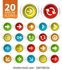 20 Buttons with Flat Arrow Icons on White Background 1.