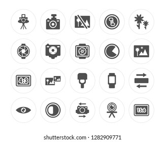 20 Camera Stand, Compact Camera, Flip Brightness Option, Eye, Macro, Three Quarters, Blitz Flash modern icons on round shapes, vector illustration, eps10, trendy icon set.