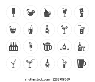 20 Champagne, Cocktail, Wine, Margarita, Martini, Beer, Manhattan modern icons on round shapes, vector illustration, eps10, trendy icon set.