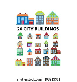 20 city buildings, houses icons, signs set, vector
