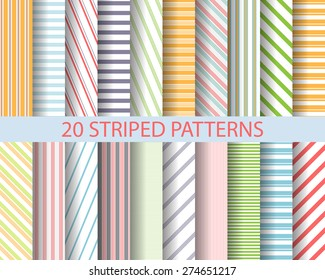 20 color stripes seamless patterns,  Pattern Swatches, vector, Endless texture can be used for wallpaper, pattern fills, web page,background,surface