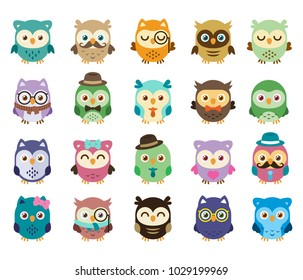 20 cute and sweet owls, simple to edit: Mix the elements, create your personal owl is simple, well layered, 100% vector