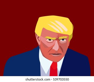 20 Dec, 2016: President of United States Donald Trump. Picture of Donald Trump. Trump new president portrait. Donald Trump angry caricature.