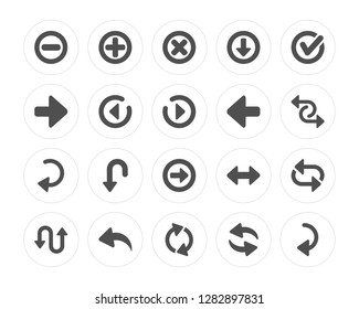 20 Delete, Add, Loop Arrows, Curved Left Arrow, Confirm, arrow, Right Circling Arrow modern icons on round shapes, vector illustration, eps10, trendy icon set.