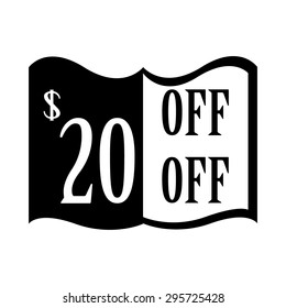 20% discount price sign.20% Off. 20 dollar percent discounted. Discount badge. Sticker. Vector