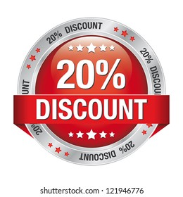 20 discount red silver button isolated background