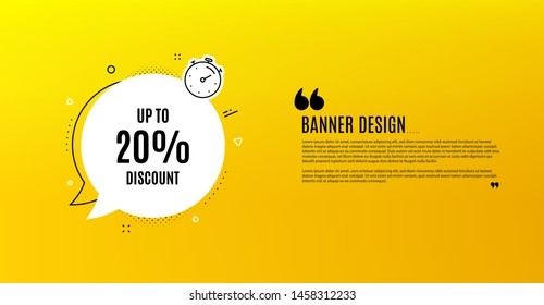 Up to 20% Discount. Yellow banner with chat bubble. Sale offer price sign. Special offer symbol. Save 20 percentages. Coupon design. Flyer background. Hot offer banner template. Vector