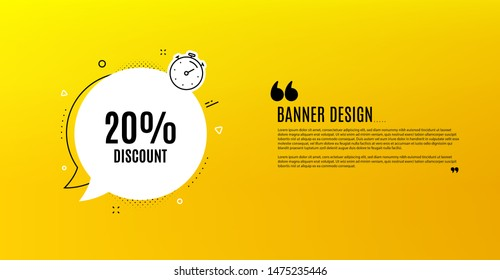 20% Discount. Yellow banner with chat bubble. Sale offer price sign. Special offer symbol. Coupon design. Flyer background. Hot offer banner template. Bubble with discount text. Vector
