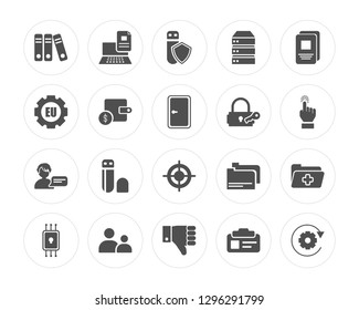 20 Documentation, Data transfer, Right to objection, Child consent, Chip, Document, Keylock, Target, Profiling, Income modern icons on round shapes, vector illustration, eps10, trendy icon set.