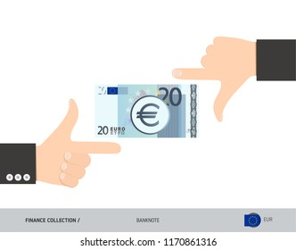 20 Euro Banknote. Business hands measuring banknote. Flat style vector illustration. Business finance concept.