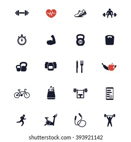 20 fitness icons, active lifestyle, fitness vector icons, gym, sport, workout, training icons, fitness signs isolated on white, vector illustration