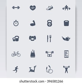 20 fitness icons, active lifestyle, fitness vector icons, gym, sport, workout, training icons, fitness pictograms, vector illustration