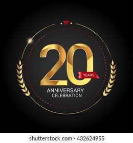 20 golden anniversary logo with red ribbon, low poly design number