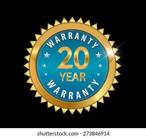 20 golden blue metallic one year, 20 year warranty badge - vector eps10