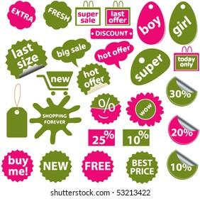 20 green fashion stickers. vector