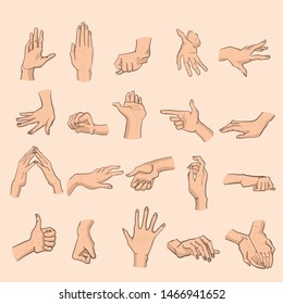 20 hands signs set in vector